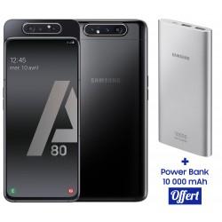 Téléphone Portable Samsung Galaxy A80 / Noir + SIM Orange 60 Go + Power Bank 10 000 mAh Offert
