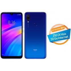 Téléphone Portable Xiaomi Redmi 7 / 4G / Bleu + SIM Orange 50 Go