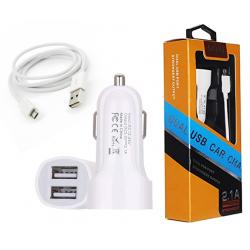 Chargeur Allume Cigare MUJU MJ-C03S 2x USB Micro USB / Blanc
