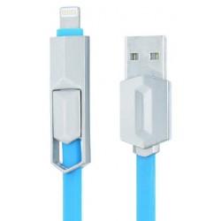 Câble MUJU MJ-38 2 en 1 USB vers Micro USB / Lightning / Bleu