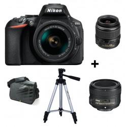 Réflex Numérique Nikon D5600 + Objectif Nikkor 18-55mm + AF-S NIKKOR 50mm f/1.8G + Trépied + Sacoche