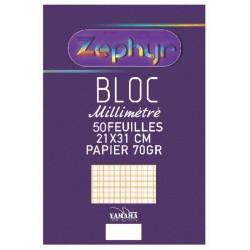 Bloc note YAMAMA Zephyr 70G 100p Millimétré