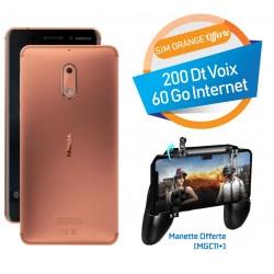 Téléphone Portable Nokia 6 / Double SIM / Cuivre + SIM Orange Offerte (60 Go)