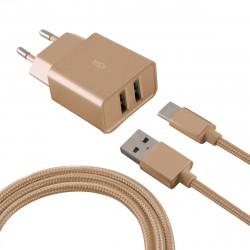 Chargeur Secteur KSix 2 USB / USB Type C / Gold