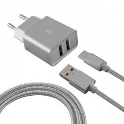 Chargeur Secteur KSix 2 USB / USB Type C / Silver