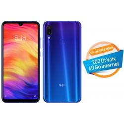 Téléphone Portable Xiaomi Redmi Note 7 / 4G / Bleu + SIM Orange Offerte (60 Go)