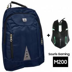 """Sac à dos pour PC Portable 15.6"""" / Bleu + Souris Gaming M200"""