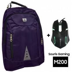 """Sac à dos pour PC Portable 15.6"""" / Violet + Souris Gaming M200"""