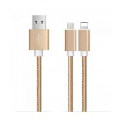 Câble 2en1 USB Vers Micro USB + Lightning