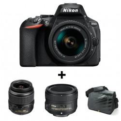 Réflex Numérique Nikon D5600 + Objectif Nikkor 18-55mm + AF-S NIKKOR 50mm f/1.8G + Sacoche