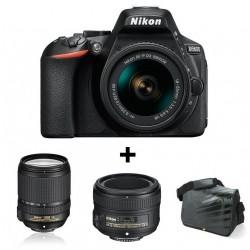 Réflex Numérique Nikon D5600 + Objectif Nikkor 18-140mm + AF-S NIKKOR 50mm f/1.8G + Sacoche