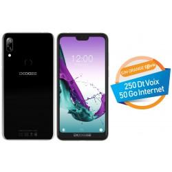 Téléphone Portable Doogee Y7 / Double SIM / 4G / Noir + SIM Orange 50 Go + Film de protection Offert