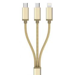 Câble 3en1 LDNIO LC85 2x Micro USB / 1xLightning