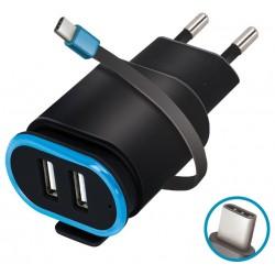 Chargeur secteur Forever TC-02 2x USB 2.4A / USB Type-C