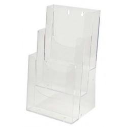 Porte Dépliants 3 compartiments A6 / Cristal