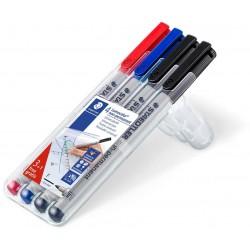Box 4 Marqueurs universels non-permanents STAEDTLER Lumocolor 316 F / 3 Couleurs + 1 Noir Gratuit