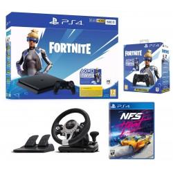 Console Playstation 4 Slim / 500 Go + Voucher Fortnite + NFS Heat + Manette + Volant