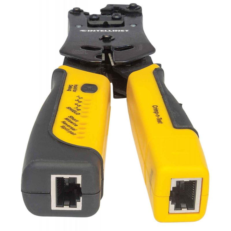 Outil de sertissage et testeur de câbles 2 en 1 — Coupe, dénude, termine et teste