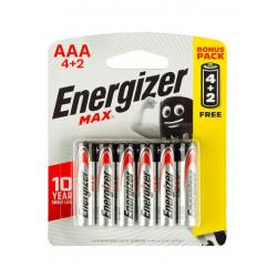 6x Piles Energizer Max E92