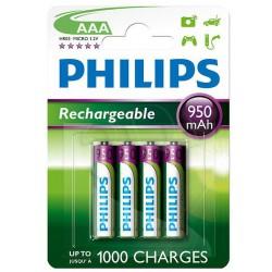 4x Piles AAA Philips Rechargeable 950mAh
