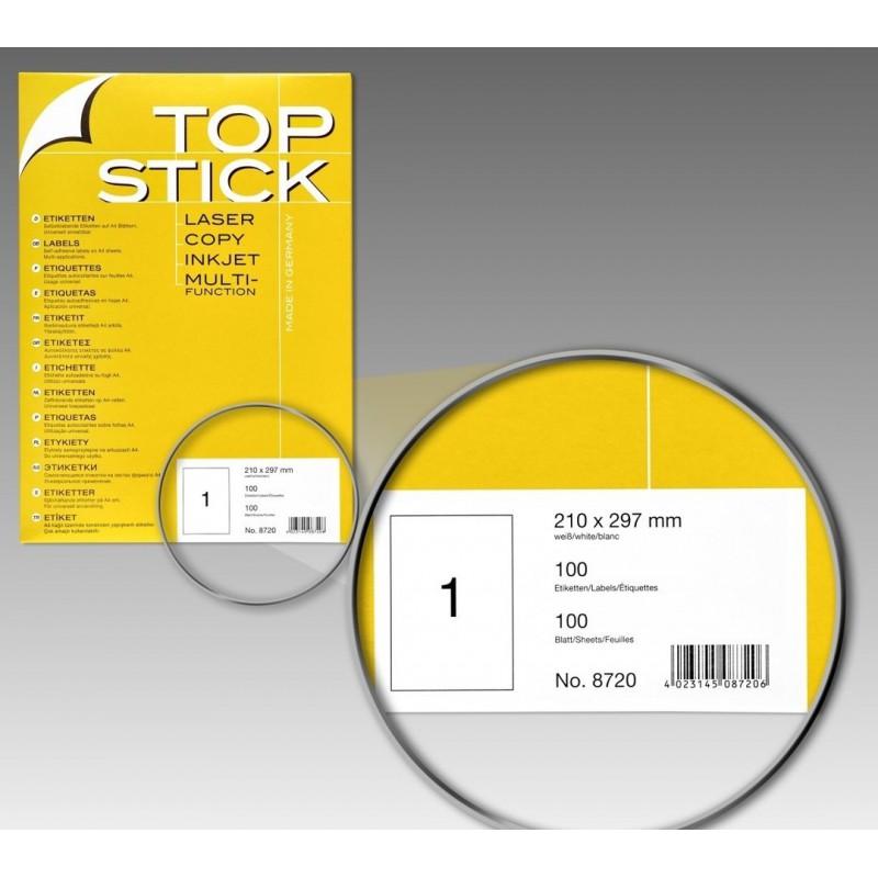 100x Etiquettes HERMA TOP STICK A4/1 / 210 x 297 mm