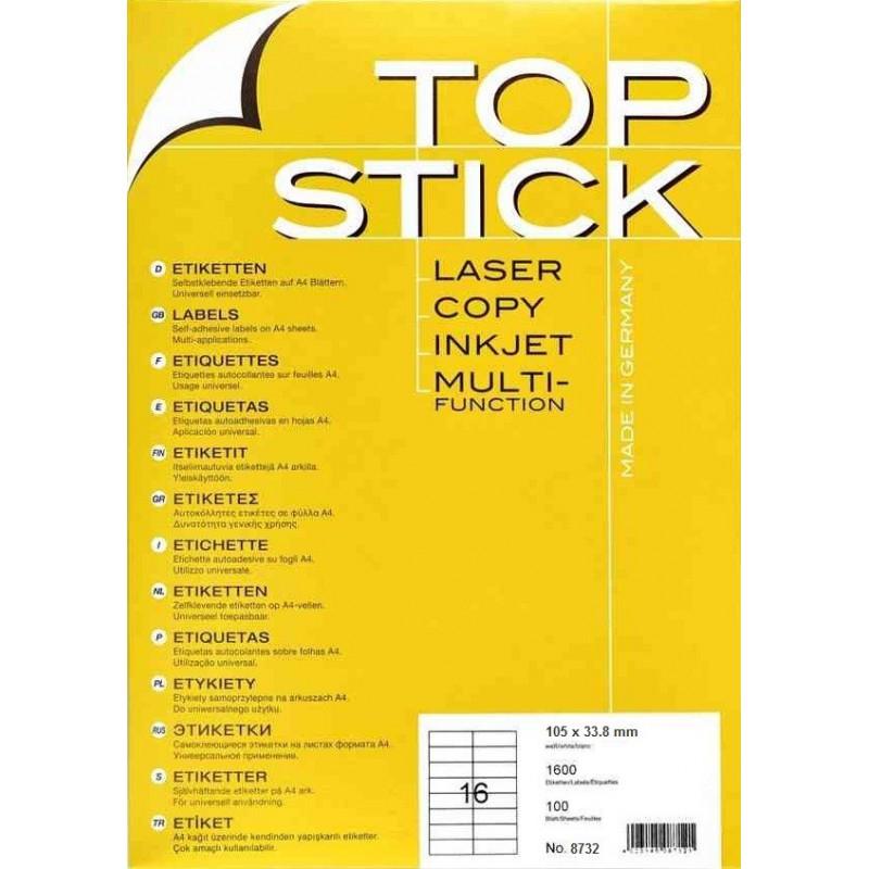 1600x Etiquettes HERMA TOP STICK A4/16 / 105 x 33.8 mm