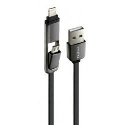 Câble plat CLiPtec DUAL MODE 2 en 1 USB vers Micro-USB/Lightning / Noir