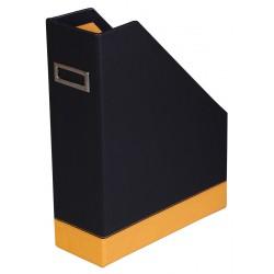 Porte Revue Rhodia en simili cuir / Noir & Orange