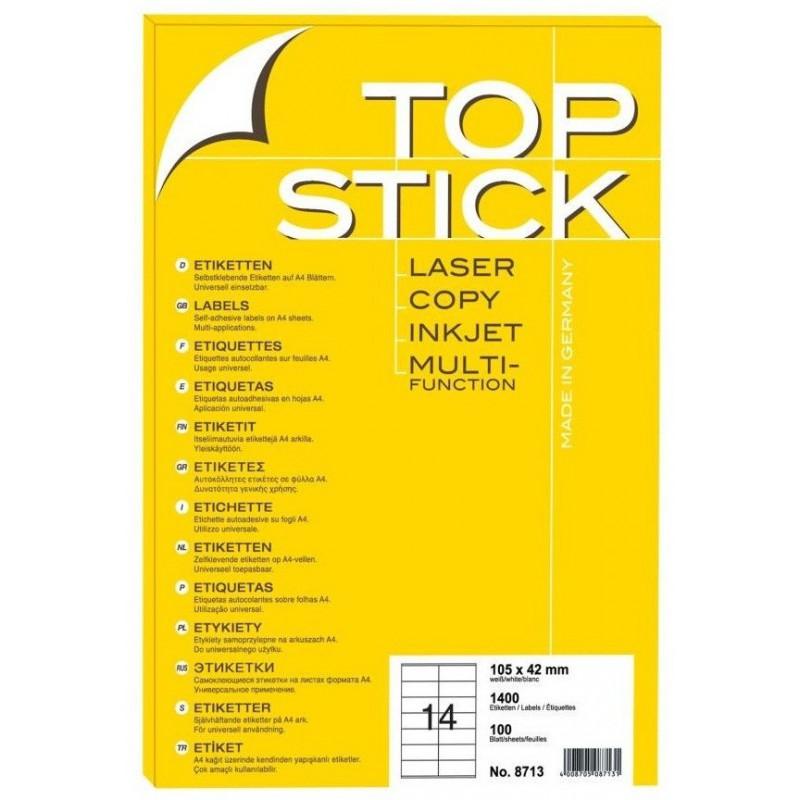 1400x Etiquettes HERMA TOP STICK A4/14 / 105 x 42 mm