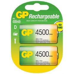 2x Piles GP Rechargeable NiMH D 4500 Series 4500 mAh