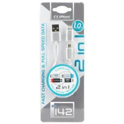 Câble plat CLiPtec LUMILUX 2 en 1 USB vers Micro-USB/Lightning / Blanc
