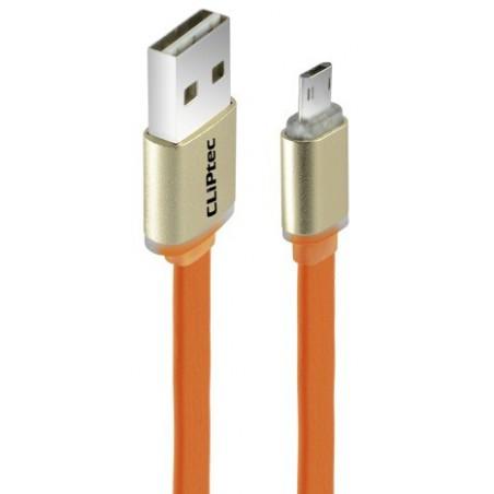 Câble plat CLiPtec TITANIUM II Reversible USB vers Micro-USB pour Smartphone / Orange