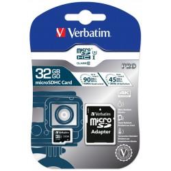 Carte Mémoire Verbatim Pro U3 Micro SDHC 32Go avec Adaptateur
