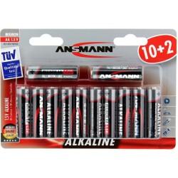 12x Piles Ansmann Alcaline Mignon AA 1.5V