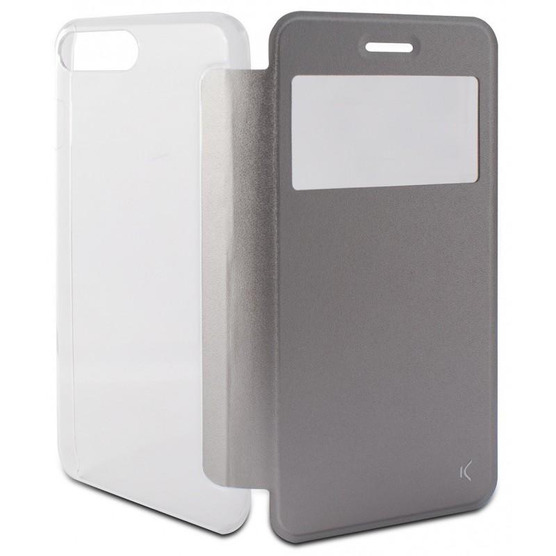 Etui Cover Flip KSix Cristal pour iPhone 7 Plus / Silver