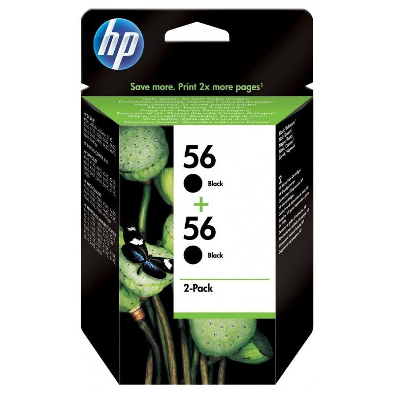 Pack de 2 cartouches d'encre authentiques HP 56 / Noir