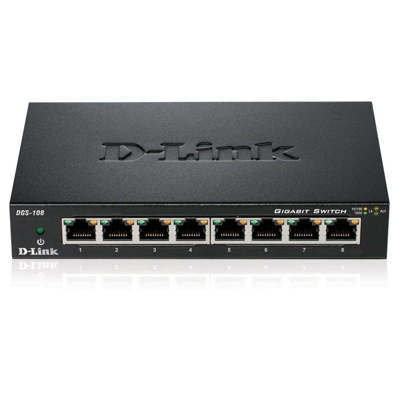 Switch Gigabit 8 ports 10/100/1000 Mbps D-Link DGS-108