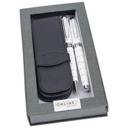 Coffret Stylo-Bille + Stylo-plume + Pochette Online Blanc