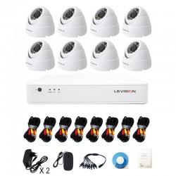 KitLS Vision DVR AHD 8 canaux + 8 Caméras 1MP Dome