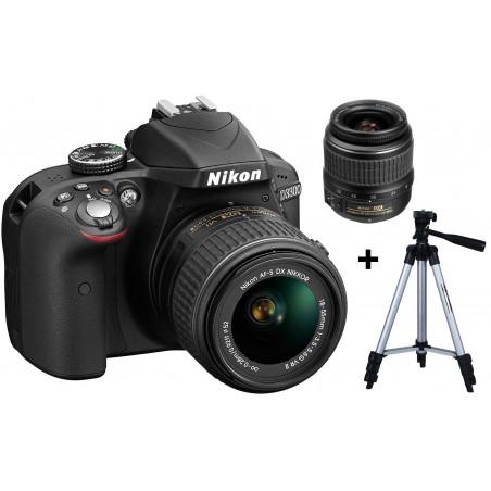 Réflex Numérique Nikon D3300 + Objectif Nikkor 18-55mm + Trépied