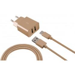 Chargeur Secteur KSix 2 USB / Gold