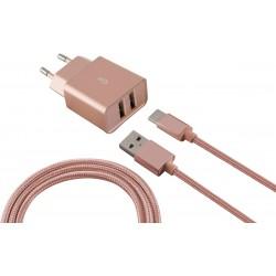 Chargeur Secteur KSix 2 USB / Rose Gold
