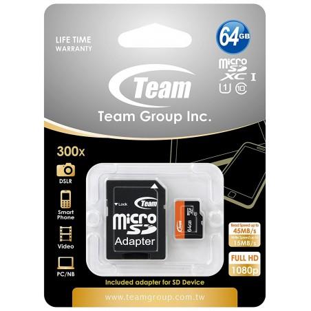 Carte Mémoire Team Micro SDXC 64 Go Class 10 avec Adaptateur