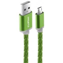 Câble CLiPtec VESTE-M3 Cuir tressé USB vers Micro-USB pour smartphone / Vert