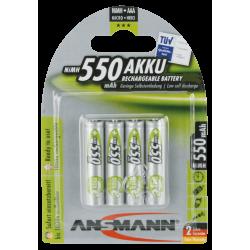 4x Piles Rechargeables Ansmann AAA 550 mAh