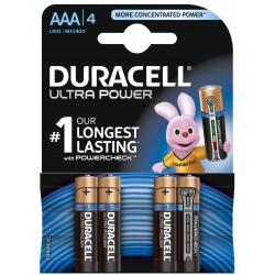 4x Piles Duracell Alkaline Ultra Power MX2400 AAA