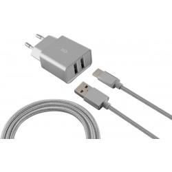 Chargeur Secteur KSix 2 USB / Silver