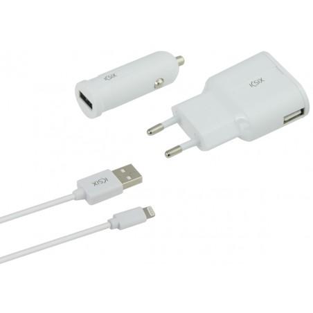 Chargeur KSix 3 en 1 USB vers Lightning 2.4A / Blanc