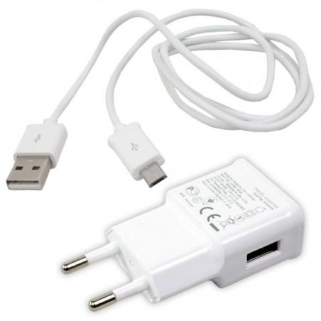 Chargeur 2en1 Micro USB pour Smartphone 2A / Blanc