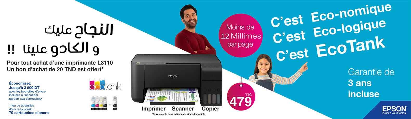 Imprimante Multifonction 3 en 1 à réservoir intégré Couleur Epson L3110 + 5 Bouteilles d'encre + Bon d'achat 20DT